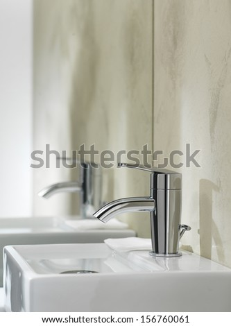 bathroom interior in light colors  - stock photo