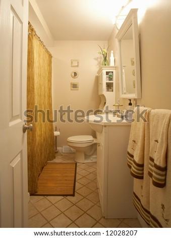 Bathroom interior of modern contemporary home - stock photo