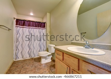 Bathroom interior with colorful shower curtain, toilet and cabinet with sink and mirror. Northwest, USA