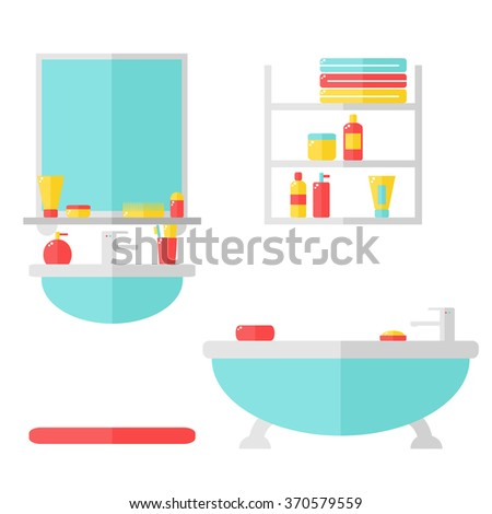 Bathroom interior with furniture and cosmetic bottles. Sink, bathtub, mirror. Isolated bathroom elements on white background. Flat illustration.