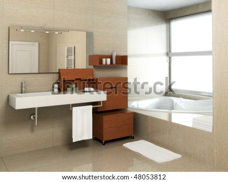 bathroom interior with jakuzzi - stock photo
