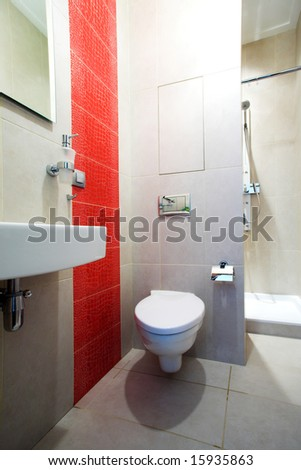 Bathroom interior with Mirror, pan and shower