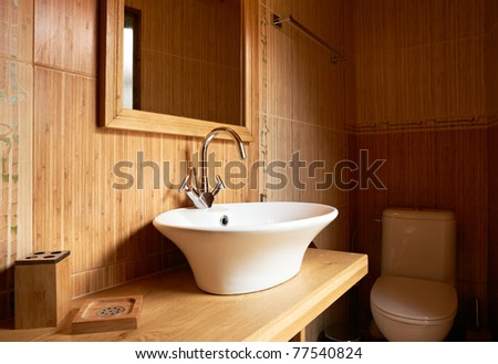Bathroom interior wooden elements furniture design