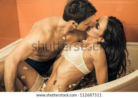 bathroom kiss - stock photo