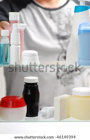 bathroom medicine cabinet - stock photo