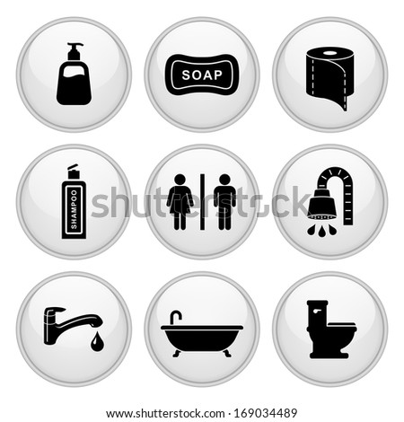 Bathroom / Restroom Icons White Plastic Button Icon Set.  Raster version. - stock photo