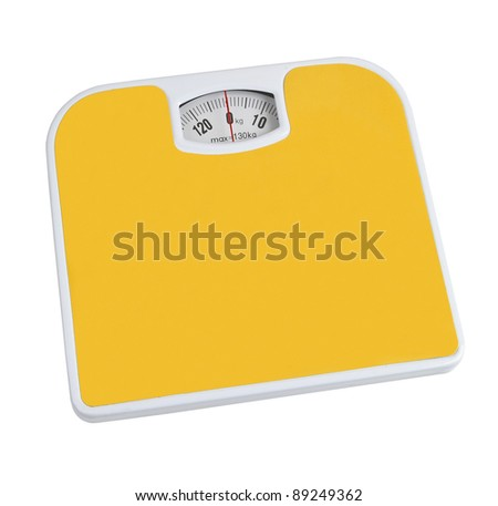 bathroom scale and isolated on white