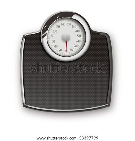 bathroom scale and isolated on  white with soft shadow - stock photo