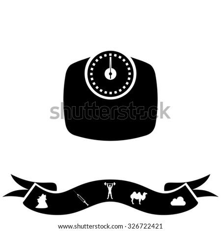 Bathroom scale. Black flat icon and bonus pictogram with ribbon. Illustration symbol on white background - stock photo