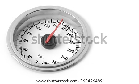 Bathroom scale dial in pounds, isolated on white background. - stock photo