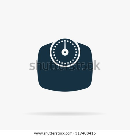 Bathroom scale. Flat web icon or sign on grey background with shadow. Collection modern trend concept design style illustration symbol - stock photo