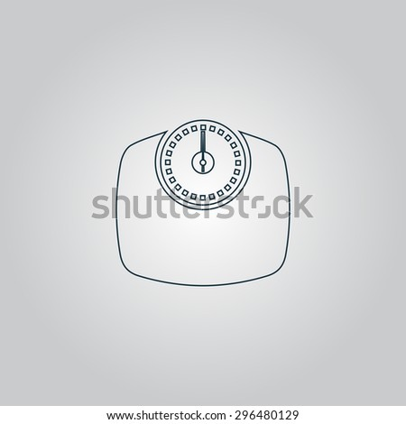 Bathroom scale. Flat web icon, sign or button isolated on grey background. Collection modern trend concept design style  illustration symbol