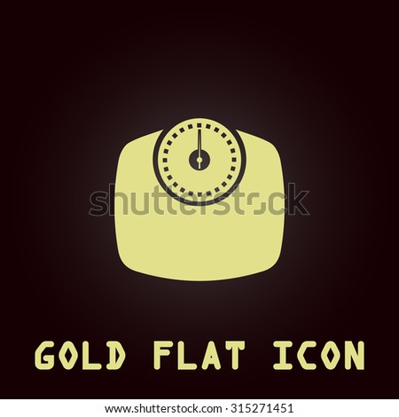 Bathroom scale. Gold flat icon. Symbol for web and mobile applications for use as logo, pictogram, infographic element - stock photo