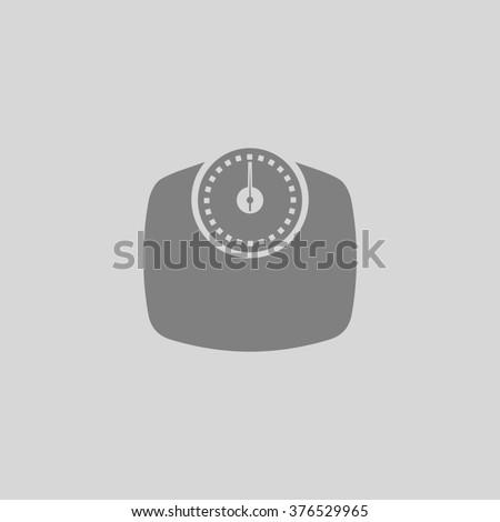 Bathroom scale. Grey simple flat icon - stock photo