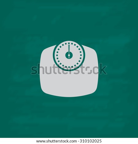 Bathroom scale.  Icon. Imitation draw with white chalk on green chalkboard. Flat Pictogram and School board background. Illustration symbol - stock photo