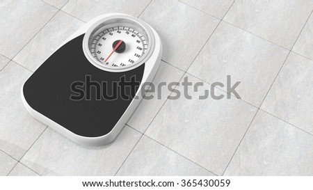 Bathroom scale in kilograms, on bathroom floor - stock photo