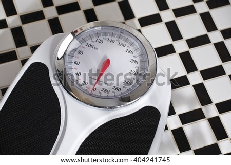 Bathroom Scale on Black and White Tile Floor