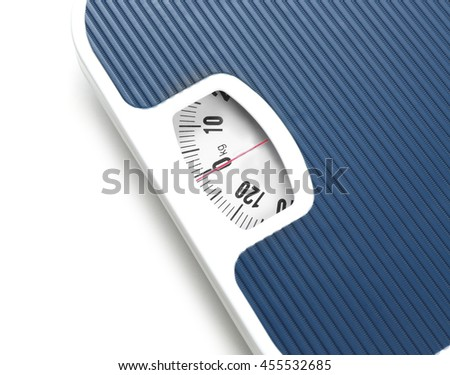Bathroom scale on white background. Weight loss concept - stock photo