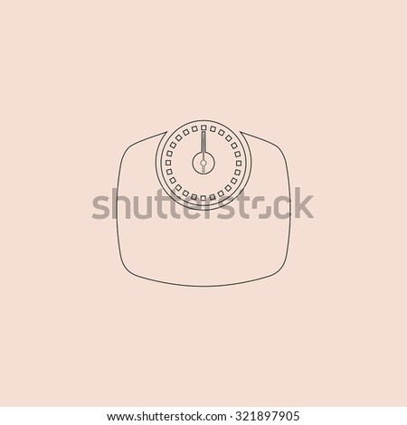Bathroom scale. Outline icon. Simple flat pictogram on pink background - stock photo