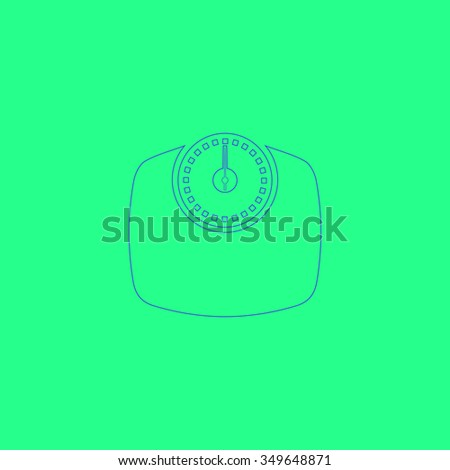 Bathroom scale. Simple outline illustration icon on green background - stock photo