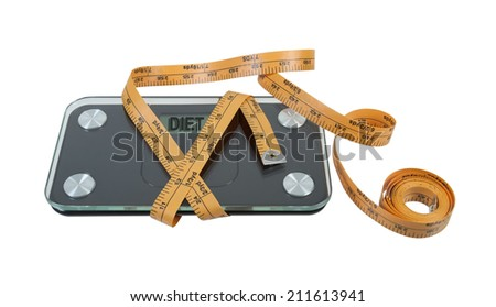 Bathroom scale used to help maintain health wrapped with measuring tape - stock photo