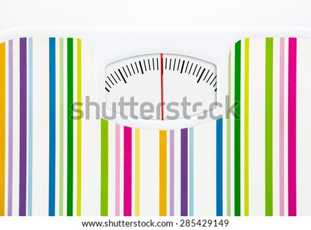Bathroom scale with clean dial with lines no numbers on white - stock photo