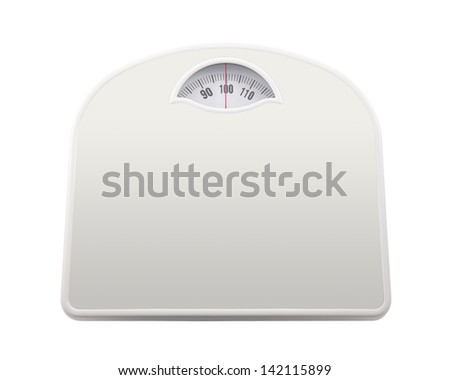 Bathroom scale with clipping path - stock photo