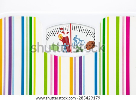 Bathroom scale with fitness icons on dial with lines no numbers - stock photo