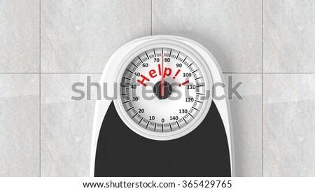Bathroom scale with Help message on dial, on bathroom floor - stock photo