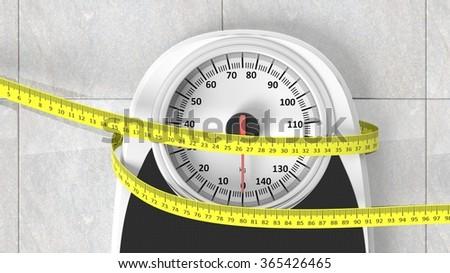 Bathroom scale with measuring tape closeup on bathroom floor - stock photo