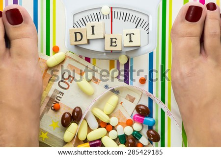 Bathroom scale with pills and money, dial with lines no numbers - stock photo