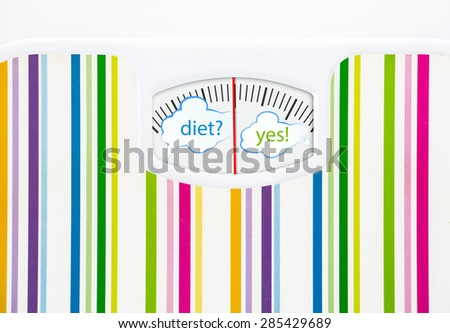 Bathroom scale with text bubbles on dial, with lines no numbers - stock photo