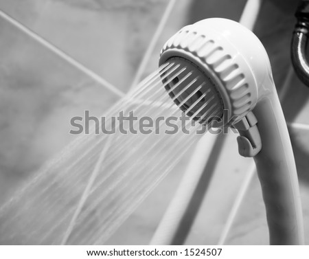 Bathroom Showerhead Closeup Slow Shutter Speed - stock photo