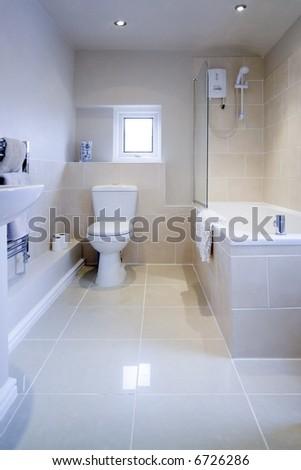 bathroom sink shower loo toilet bath sink - stock photo