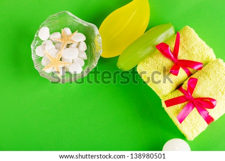 Bathroom towels and soap - stock photo