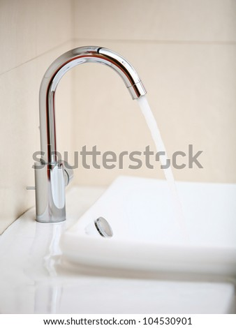 Bathroom washstand close-up - stock photo