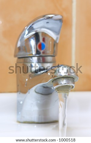 Bathroom water tap - stock photo