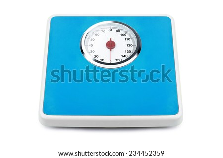 Bathroom weight scale isolated on a white background - stock photo