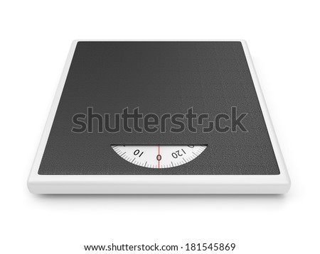 Bathroom weight scale isolated on white background - stock photo