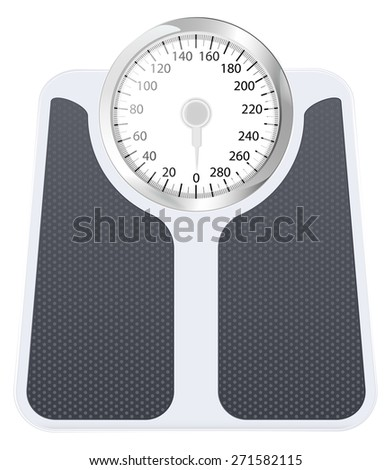 Bathroom weight scale . Isolated on white background. Raster version