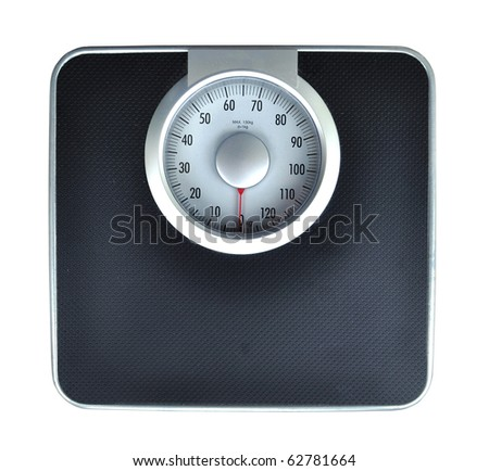 Bathroom weight scale on white background - stock photo