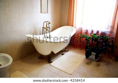 Bathroom with a beautiful bath and an house plant - stock photo