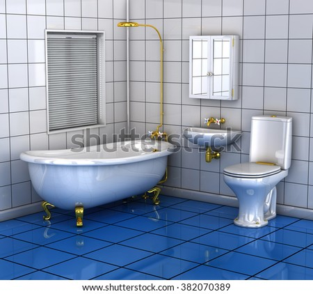 Bathroom with bath toilet and wash basin. 3d illustration