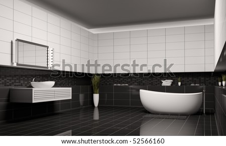 Bathroom with black white walls interior 3d render