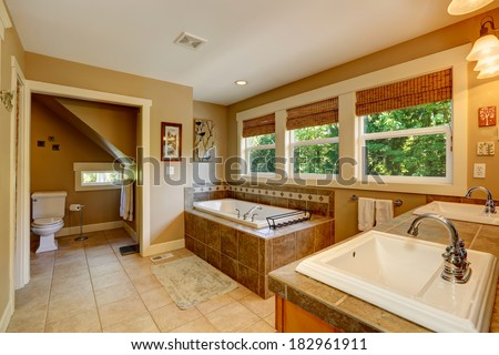 Bathroom with ceramic floor, tile base tub, washbasin cabinet with two sinks and toilet. - stock photo