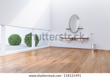 Bathroom with low windows and two sinks - stock photo