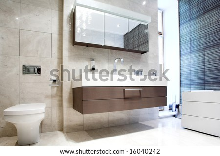 Bathroom with Mirror and pan cold colours - stock photo