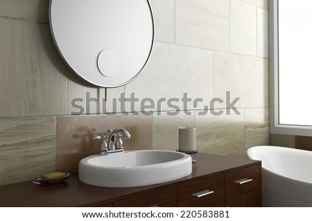 Bathroom with mirror and sink and bright window - stock photo
