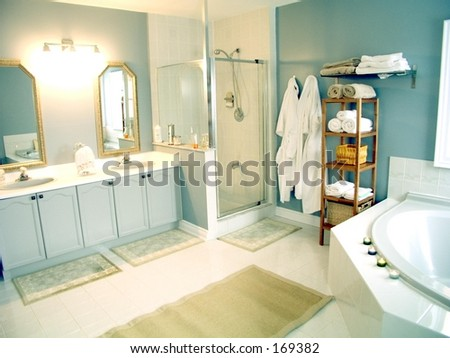 Bathroom with mirrors,white porcelain fixtures,   pastel walls, shower stall and whirlpool bathtub.