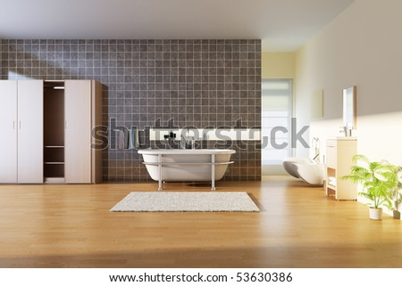 bathroom with modern style.3d render - stock photo